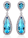 S&V Brass With Cubic Zirconia Drop Earrings(More Colors) Elegant Style