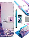 COCO FUN® Eiffel Tower In Night Pattern PU Leather Case with Screen Protecter, Stand and Stylus for iPhone 6S Plus/6 Plus