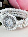 Women's Quartz Simulated Diamond Watch Bracelet Watch Imitation Diamond Plastic Band Flower Pearls Fashion White