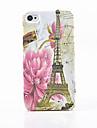 toophone® Joyland rosas de plástico e torre de volta caso para iphone 4 / 4s
