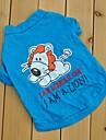 Cat Dog Shirt / T-Shirt Blue Dog Clothes Summer Spring/Fall Cartoon Cute Casual/Daily