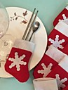 6Pcs/Set Christmas Snow Stocking Cutlery Tableware Holder Decoration