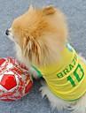 Gatos Caes Camiseta Camisa Amarelo Roupas para Caes Verao Carta e Numero Ferias Esportivo