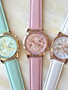 Women's Quartz Wrist Watch Casual Watch PU Band Elegant Fashion White Blue Pink