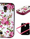 2-in-1  Pink Rose Peony Pattern TPU Back Cover with PC Bumper Shockproof Soft Case for Samsung S4 Mini I9190