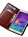 Для Samsung Galaxy Note Бумажник для карт / со стендом / Флип Кейс для Чехол Кейс для Один цвет Искусственная кожа Samsung Note 4