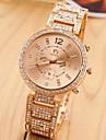 banda de aço ouro das mulheres com relógio de pulso de quartzo analógico de strass (cores sortidas)