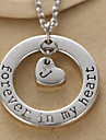 Fashion Circle And Alphabet Heart Pendant Silver Alloy Pendant Necklace(1 Pc)