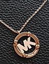 letras moda mk pingente liga colar dourada (1 pc)