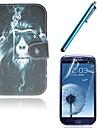 fumar couro pu orangotango caso de corpo inteiro com slot para cartao com caneta de toque e pelicula protetora 2 pecas para samsung i9300 s3