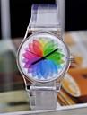 Mulheres Relógio de Moda Quartzo Quartzo Japonês Plastic Banda Arco-Íris Cores Múltiplas marca