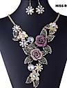 Miss ROSE®European Vintage Flower Pattern Earrings & Necklace Jewelry Set(Assorted Colors)