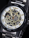 WINNER Ανδρικά Ρολόι Καρπού μηχανικό ρολόι Μηχανικό κούρδισμα Εσωτερικού Μηχανισμού Ανοξείδωτο Ατσάλι Μπάντα Αναλογικό Φυλαχτό Μαύρο - Χρυσό Λευκό Μαύρο