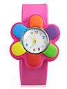 Детские Зеленый Lovery Цветок Наберите резинкой кварцевые наручные часы