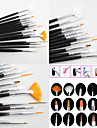 15PCS Black  Nail Art Design Painting Drawing Pen Brush Set Wood Handle Acrylic Brush