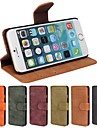 Case For Apple iPhone 6 iPhone 6 Plus Card Holder Wallet with Stand Flip Frosted Full Body Cases Solid Color Hard PU Leather for iPhone