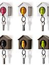 Bird House Key Chain Storage Rack Wall Nest Hook Whistle Key Ring Organizer Holder Random Color