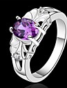 Women\'s Crystal Statement Ring - Sterling Silver 7 / 8 Purple For Wedding / Party / Daily