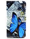 Для Кейс для  Samsung Galaxy Чехлы панели Бумажник для карт со стендом Флип Магнитный С узором Чехол Кейс для Бабочка Искусственная кожа