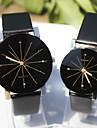 Для пары Нарядные часы Наручные часы Имитация Алмазный Кварцевый Кожа Группа С подвесками Черный