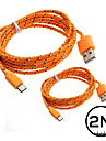 2PCs 2M Micro USB Cable Data Sync Charger Cord Braided Phone Cables & Adapters