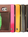 For Samsung Galaxy Case Card Holder / with Stand / Flip Case Full Body Case Solid Color Genuine Leather Samsung S6