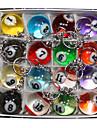 16 × 귀여운 여러 가지 빛깔의 시뮬레이션 당구 금속 열쇠 고리 열쇠 고리