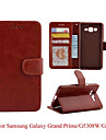 For Samsung Galaxy Case Wallet / Card Holder / with Stand / Flip Case Full Body Case Solid Color PU Leather Samsung Grand Prime
