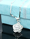 Women\'s Pendant Necklaces Flower Rose Sterling Silver Silver Plated Flower Style Flowers Floral Jewelry For