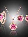 Cristal Set bijuterii - Zirconiu, Zirconiu Cubic, Placat Cu Aur Roz Petrecere, Modă, Plin de Culoare Include Fucsia Pentru Petrecere Ocazie specială Aniversare / Diamante Artificiale / Σκουλαρίκια