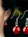 Women\'s Agate Drop Earrings - Sterling Silver Black / Red For Wedding / Party / Daily