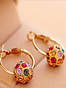 Women's Pearl Cubic Zirconia Rhinestone Gold Plated Hoop Earrings - Bohemian Fashion Circle For
