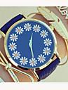 Mulheres Relogio de Moda Bracele Relogio Quartzo PU Banda Flor Preto Azul