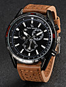 V6 Men\'s Quartz Japanese Quartz Wrist Watch Casual Watch Leather Band Charm Black Brown Khaki