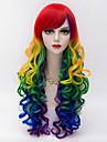 Perruque Synthetique Kinky Curly Avec Frange Rouge Femme Sans bonnet Perruque de carnaval Perruque Halloween Long Cheveux Synthetiques