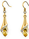Drop Earrings Crystal Cubic Zirconia Gold Plated Gold Screen Color Jewelry 2pcs