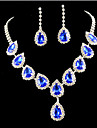 Crystal Jewelry Set - Cubic Zirconia, Imitation Diamond Party, Fashion, Colorful Include Gold / Blue For Party / Special Occasion / Anniversary / Earrings / Necklace