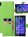 케이스 제품 소니 엑스 페리아 Z2 그외 Sony 소니 케이스 카드 홀더 지갑 스탠드 플립 전체 바디 케이스 한 색상 하드 PU 가죽 용 Sony Xperia Z2 Sony Other