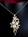 Femme Collier de perles Colliers Declaration Perle Plaque or Dore Bijoux Pour Mariage Soiree Quotidien Decontracte 1set