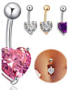Navel Ring / Belly Piercing - Stainless Steel Heart Unique Design, Fashion Women\'s Body Jewelry For Daily / Casual