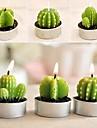 6 х кактус завод горшок набор свечи свадебные украшения свадьбы (случайный цвет)