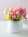 Artificial Flowers 1 Branch Pastoral Style Roses Tabletop Flower