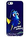 étui rigide de motif de poissons bleu pour iphone 5 / 5s