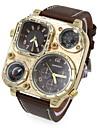 Муж. Наручные часы Кварцевый С двумя часовыми поясами Кожа Группа Черный Синий Коричневый