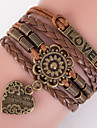 Multilayer LOVE Heart Peandant Weave Bracelet,Brown inspirational bracelets Christmas Gifts