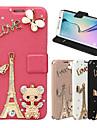 Para Samsung Galaxy Capinhas Porta-Cartao / Com Strass / Com Suporte / Flip / Magnetica Capinha Corpo Inteiro Capinha Torre EiffelCouro