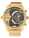 Мужской Наручные часы С двумя часовыми поясами Кварцевый Нержавеющая сталь Группа Золотистый