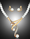 Women\'s Pearl Jewelry Set - Pearl, Imitation Pearl, Rhinestone Luxury Include Necklace / Earrings White For Wedding / Party / Gold Plated / Imitation Diamond