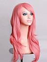 Synthetische pruiken Gekruld / Natuurlijk golvend Kardashian Stijl Asymmetrisch kapsel Zonder kap Pruik Roze Roze Synthetisch haar Dames Natuurlijke haarlijn Roze Pruik Gemiddelde Lengte / Lang