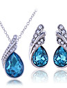 Women\'s Cubic Zirconia Jewelry Set Sterling Silver, Zircon, Rhinestone Drop Ladies Include Necklace / Earrings White / Purple / Blue For Wedding Party Birthday Engagement Gift